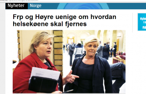 Kaoset blant partiene på høyresida har nådd nye høyder. Nå krangler Erna Solberg og Siv Jensen så busta fyker om hvordan helsepolitikken skal være i et eventuelt borgerlig styrt Norge.