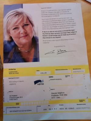 Sosialdemokraten.no har gjennom flere artikler vist hvordan oppslutningen om Høyre stuper. Nå tar partiet nye grep, og har bl.a. sendt en giro til en sentralt plassert Ap-rådgiver - der de ber om penger til å vinne valget!