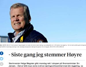 - Dere gikk til valg på at det skulle bli enklere å drive næringsvirksomhet i Norge. I stedet er det blitt mye verre de siste to årene. Jeg er ekstremt skuffet over regjeringen, sier storinvestor og Høyre-støttespiller Helge Møgster. I 2013 bidro han med 100.000 kroner til Høyres valgkamp. Nå slår han fast at han har stemt Høyre for siste gang.