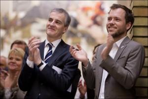 GALLUPGLEDE: Både Aps partileder Jonas Gahr Støre og SVs partileder Audun Lysbakken har god grunn til å glede seg over de ferske galluptallene som viser solid rødgrønt flertall.