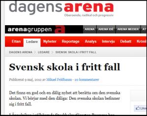 """I Sverige har Høyres søsterparti for lengst gjennomført sin politikk for """"fritt skolevalg"""" og etablering av privatskoler. En rykende fersk rapport viser at svenske skoleresultater stuper, og at det har etablert seg et nytt klasseskille i skolen."""
