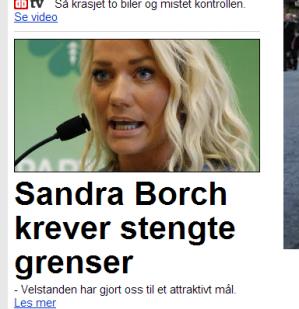 Senterpartiets Sandra Borch tar til orde for at Norge skal gå ut av Schengen-samarbeidet og stenge grensene. Dette er tradisjonell Sp-utenrikspolitikk, og som ellers når det gjelder tradisjonell Sp-utenrikspolitikk er det ingen spesiell grunn til å gjennomføre den.