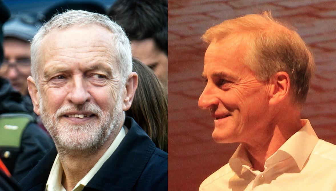 TOPPMØTE: Tirsdag i neste uke møtes de sosialdemokratiske partilederne Jeremy Corbyn og Jonas Gahr Støre til toppmøte. Foto: Garry Knight og Bjørn Jarle Røberg-Larsen